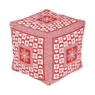 Christmas Hearts and Snowflakes Old Fashioned Pouf
