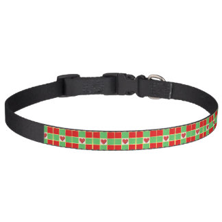 Christmas Hearts Large Dog Collar