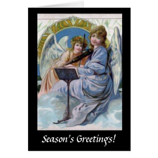 Christmas Heavenly Angels Playing Violin Greeting Card
