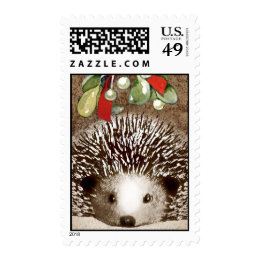Christmas Hedgehog Postage Stamp
