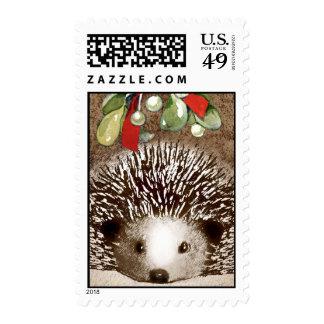 Christmas Hedgehog Postage Stamp