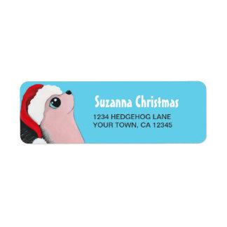 Christmas Hedgehog Return Address Labels