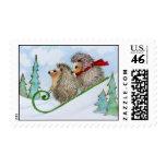 Christmas Hedgehog Sled Postage