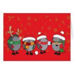 Christmas hedgehogs card