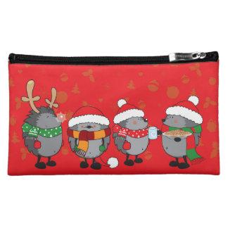 Christmas hedgehogs cosmetic bags