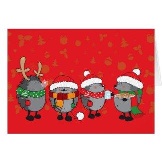 Christmas hedgehogs greeting card