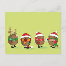 Christmas hedgehogs holiday postcard