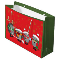 Christmas hedgehogs large gift bag