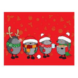 Christmas hedgehogs postcard