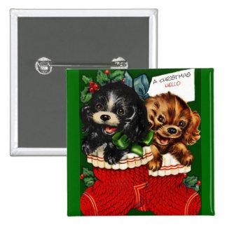 Christmas Hello Puppies Pinback Button