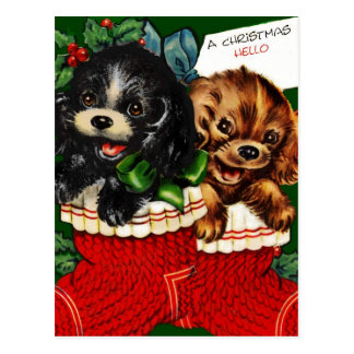 Christmas Hello Puppies Postcard