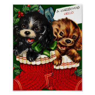 Christmas Hello Puppies Poster