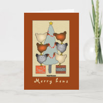 Christmas hens decorate tree Card