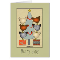 Christmas hens decorate tree on linen Card