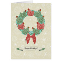 Christmas hens perched on wreath   snowflakes v2 card