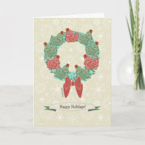 Christmas hens perched on wreath   snowflakes v2 holiday card
