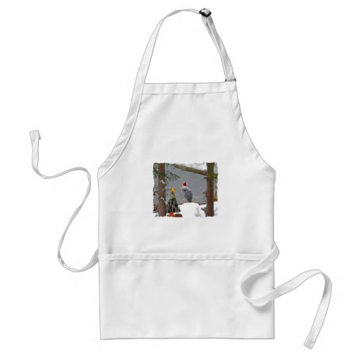 Christmas Heron in Snow Photo Adult Apron