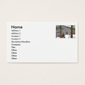 Christmas Heron in Snow Photo Business Card