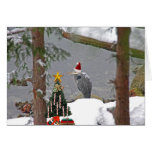 Christmas Heron in Snow Photo Cards