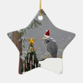 Christmas Heron in Snow Photo Ceramic Ornament