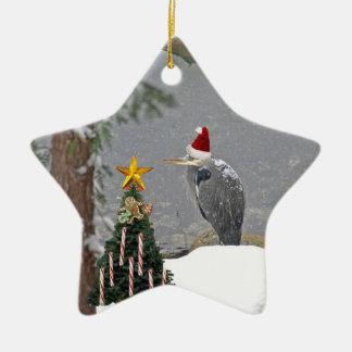 Christmas Heron in Snow Photo Christmas Tree Ornaments