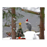 Christmas Heron in Snow Photo Postcard