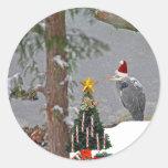 Christmas Heron in Snow Photo Stickers