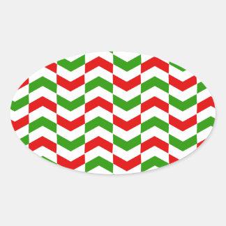 Christmas Herringbone Oval Sticker
