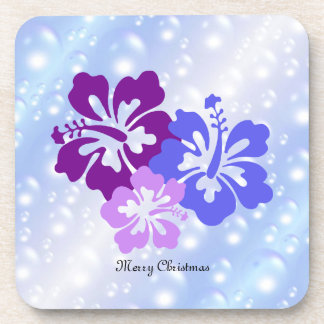 Christmas Hibiscus in Shades of Purple Beverage Coaster