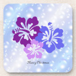 Christmas Hibiscus in Shades of Purple Beverage Coasters