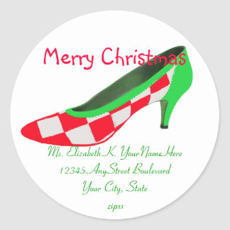 Christmas High Heel Shoe Return Address Classic Round Sticker