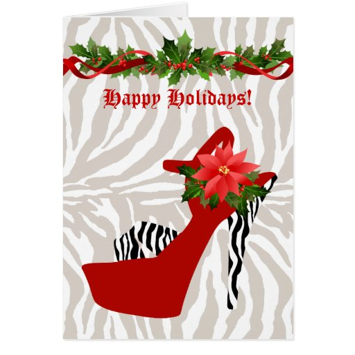 Christmas High Heel Shoe Zebra Red Greeting Card