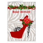 Christmas High Heel Shoe Zebra Red Greeting Cards