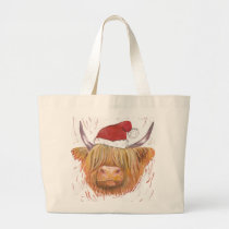 christmas highland cow hat shopper large tote bag