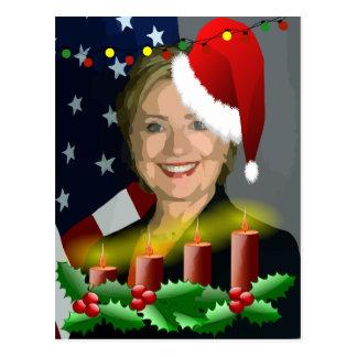 christmas hillary clinton postcard