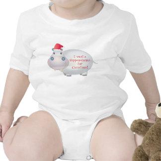 Christmas Hippo Baby Shirt