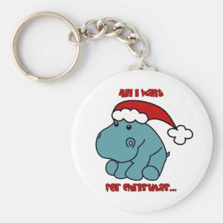 Christmas Hippo Basic Round Button Keychain