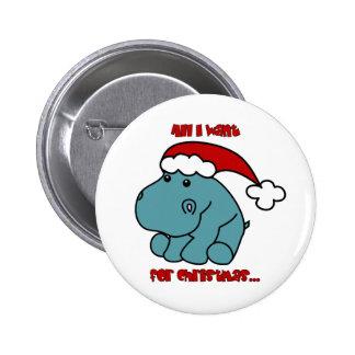 Christmas Hippo Pin