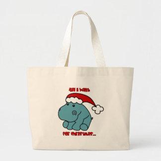 Christmas Hippo Canvas Bags