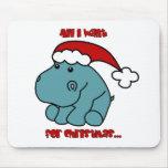 Christmas Hippo Mousepads
