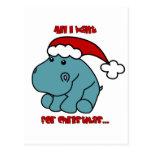 Christmas Hippo Postcard