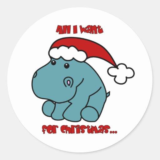 Christmas Hippo Sticker