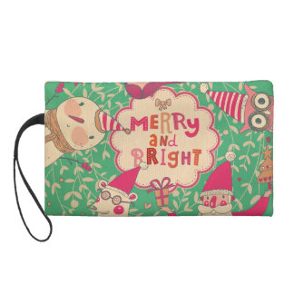 christmas,hipster,fun,happy,colourful,graphic desi wristlet purses