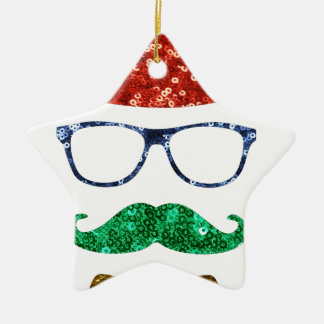 christmas hipster mustache ceramic ornament
