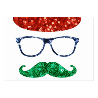 christmas hipster mustache large business card