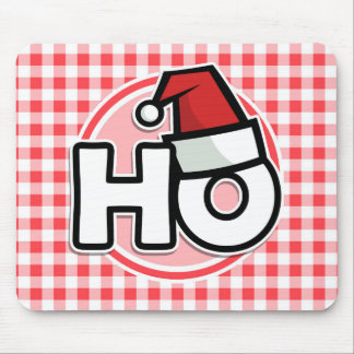 Christmas HO; Red and White Gingham Mouse Pad