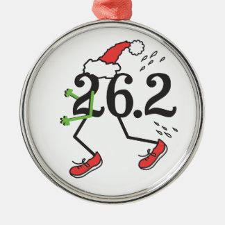 Christmas Holiday 26.2 Funny Marathon 26 2 Runner Round Metal Christmas Ornament