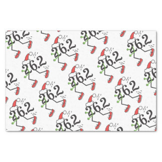 "Christmas Holiday 26.2 Funny Marathon Runner 10"" X 15"" Tissue Paper"