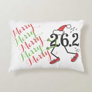 Christmas Holiday 26.2 Funny Marathon Runner Accent Pillow