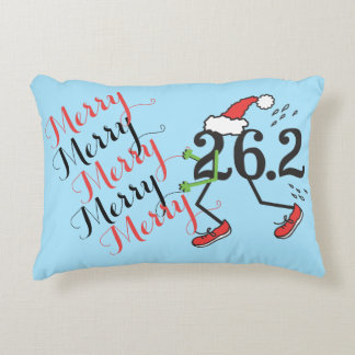 Christmas Holiday 26.2 Funny Marathon Runner Decorative Pillow